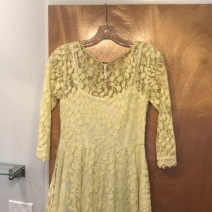 Free people lace pale yellow dress